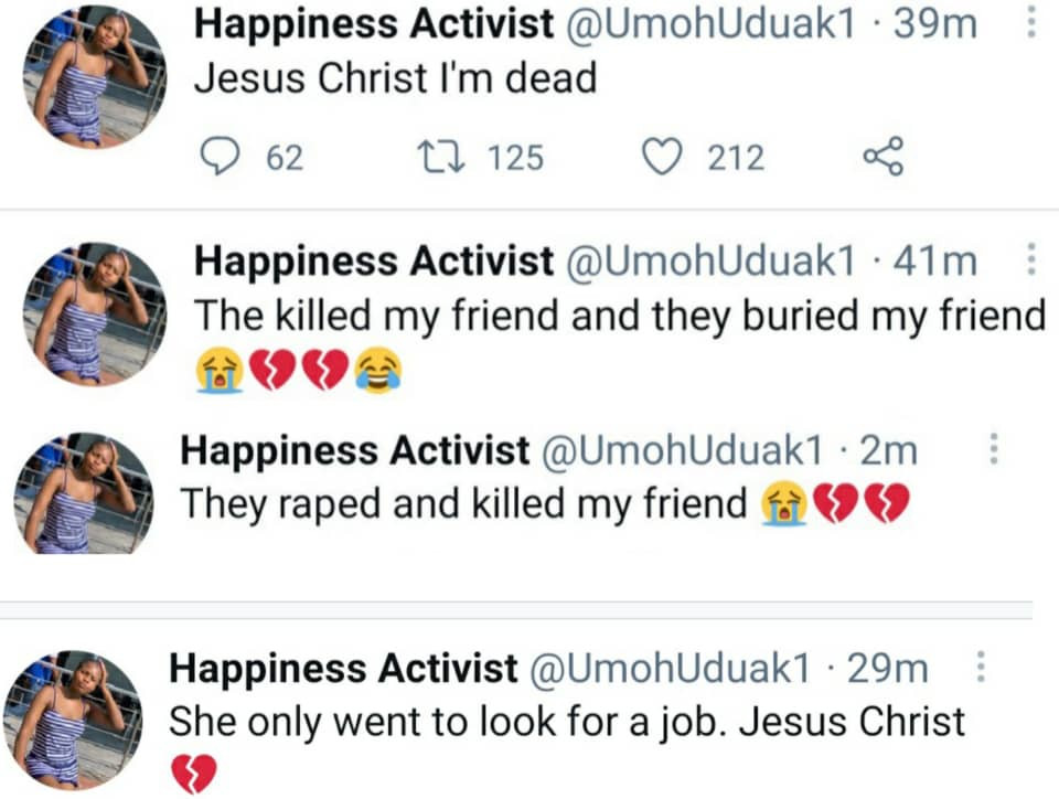 Update: Nigerian lady, Hindy Umoren, who went missing after going for a job interview found dead