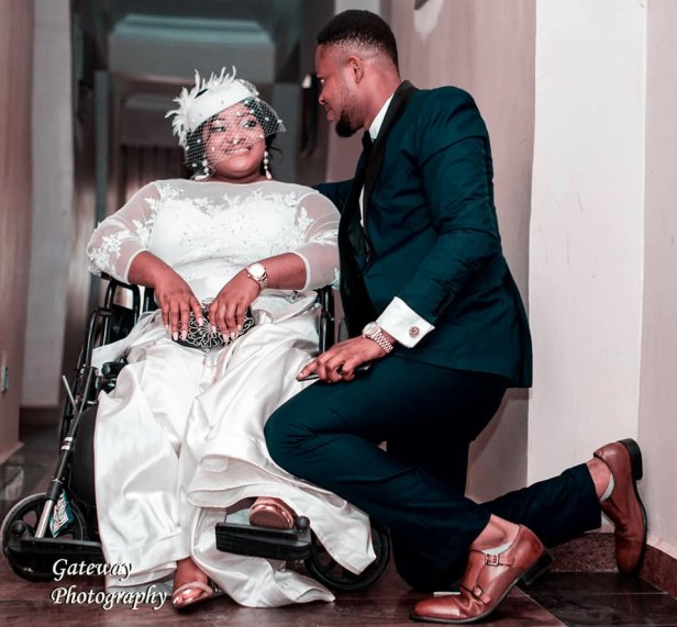 """I promise you a love that is true and enduring"" - Physically challenged Nigerian pharmacist extols her husband as she shares photos from their wedding"