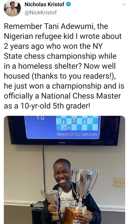 Tani adewumi a Nigerian refugee in the US has become a chess master at age  10 – Zoes Gem Magazine
