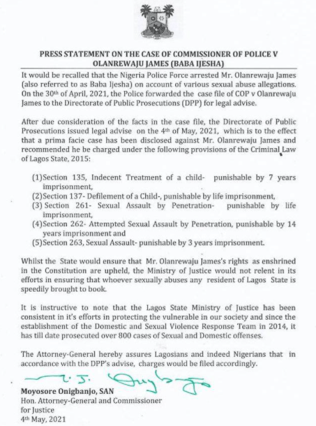 Directorate of Public Prosecutions recommends that Baba Ijesha be hit with 5 charges, including defilement of a child and attempted sexual assault by penetration