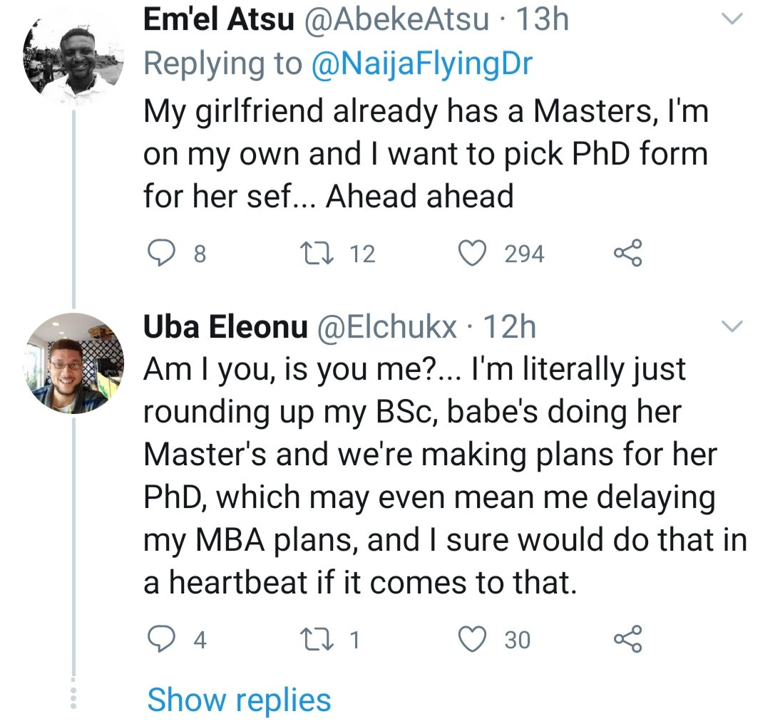 Woman refuses a job offer because her husband said it will be bad for her to get a Masters before him; Nigerians react