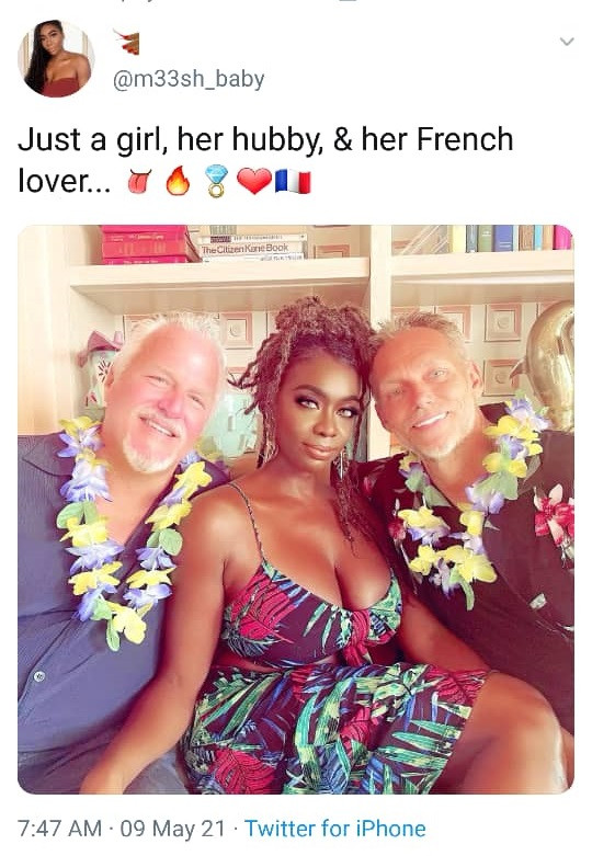Married woman shares photo of herself posing with both her husband and lover