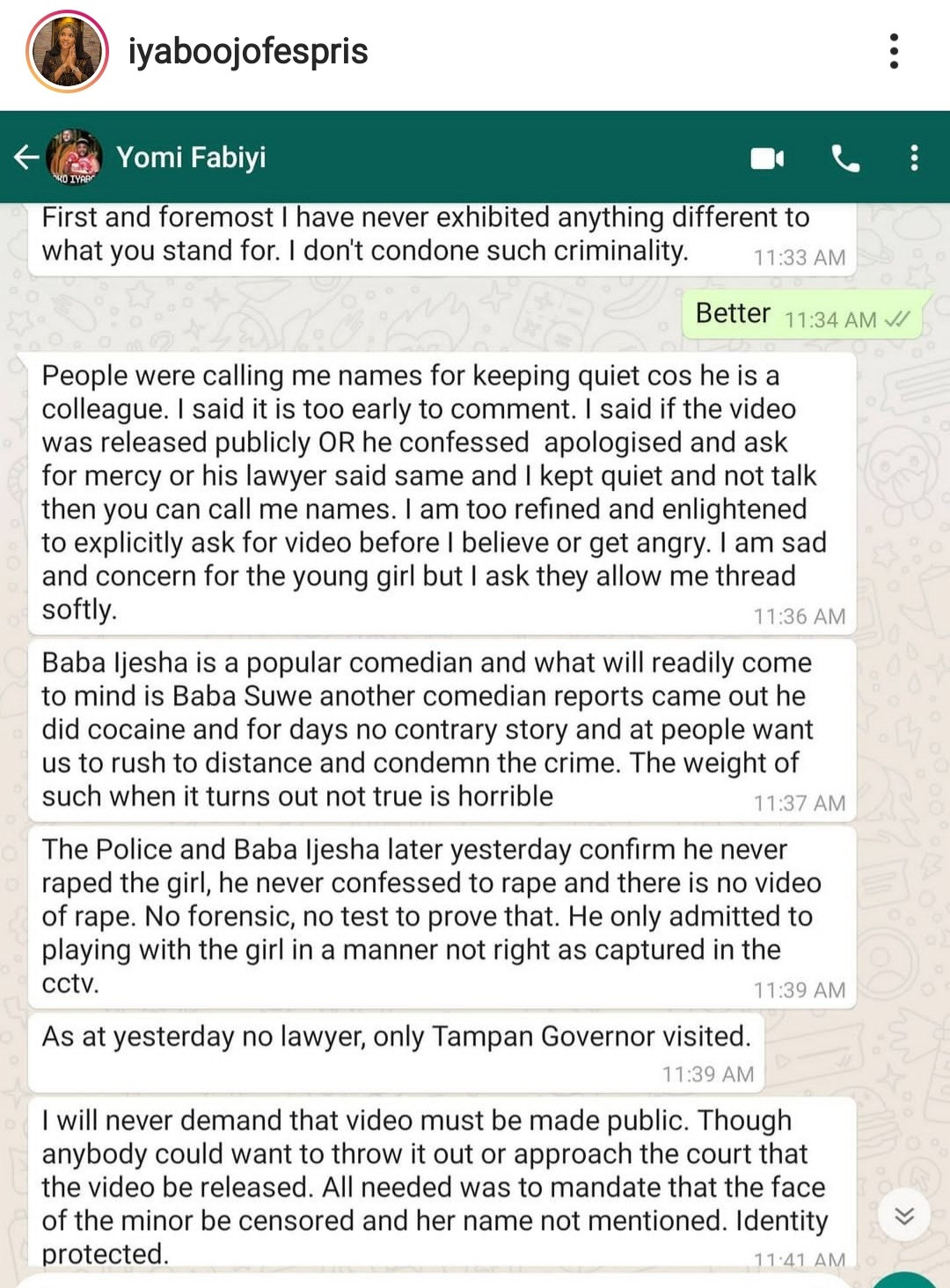 Iyabo Ojo releases her full chat with Yomi Fabiyi to show the real picture of their conversation