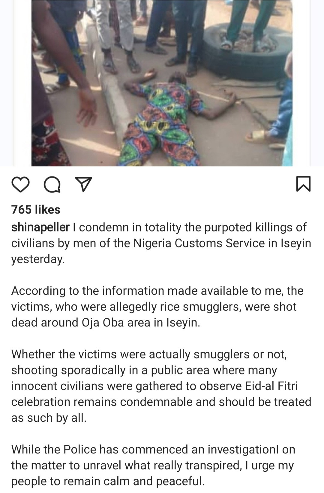 Shina Peller reacts as Customs officers allegedly open fire killing 4 on Sallah day in his constituency