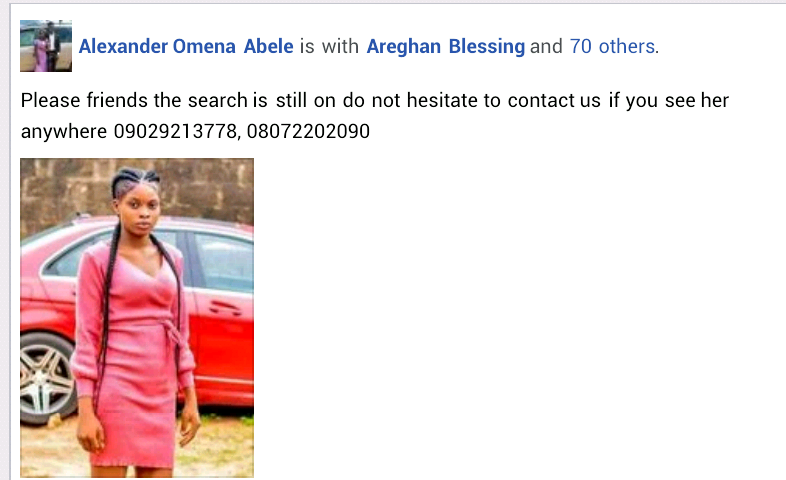 Young woman missing for one week after she left home to visit her boyfriend in Warri