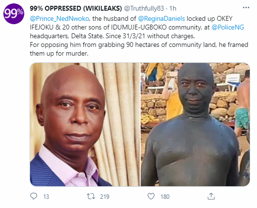 """Ned Nwoko trends as former beauty queen accuses him of putting her father in jail because their community resisted his """"land grabbing"""" attempt"""