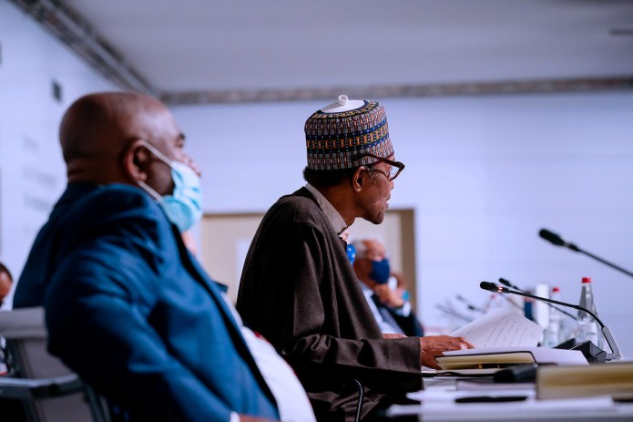 President Buhari speaks at African Financial Summit in Paris, calls for debt restructuring and release of COVID19 vaccines to African nations (photos)