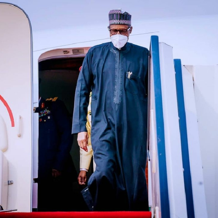 President Buhari arrives Nigeria after his official visit to France