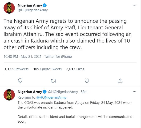 Nigerian Army confirms death of its Chief of Army Staff