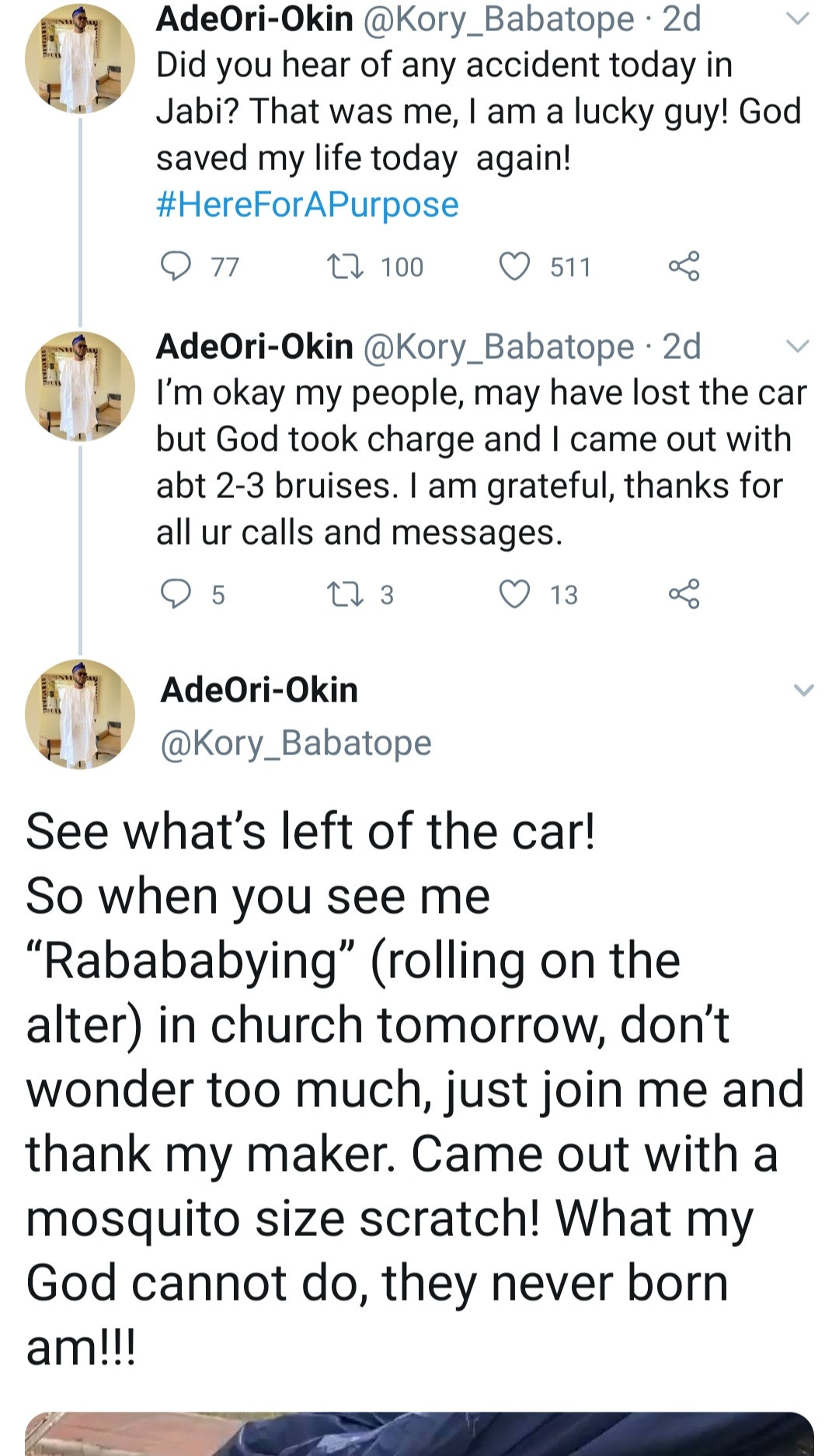 """""""Someone survived this?"""" Shock as man shares testimony of how he survived car accident"""