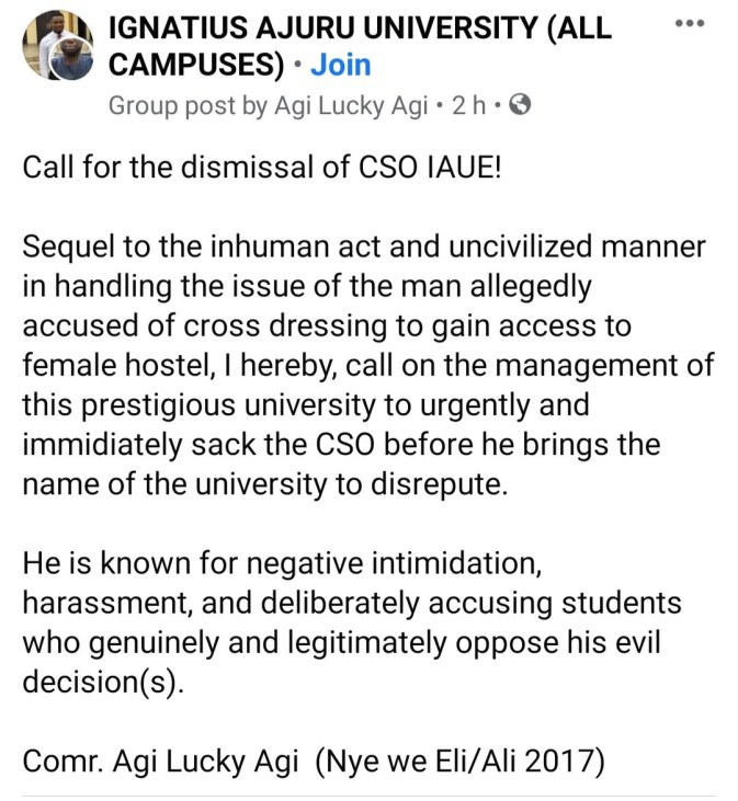Man stripped and paraded after he disguised as a woman and snuck into female hostel in Ignatius Ajuru University of Education (video)
