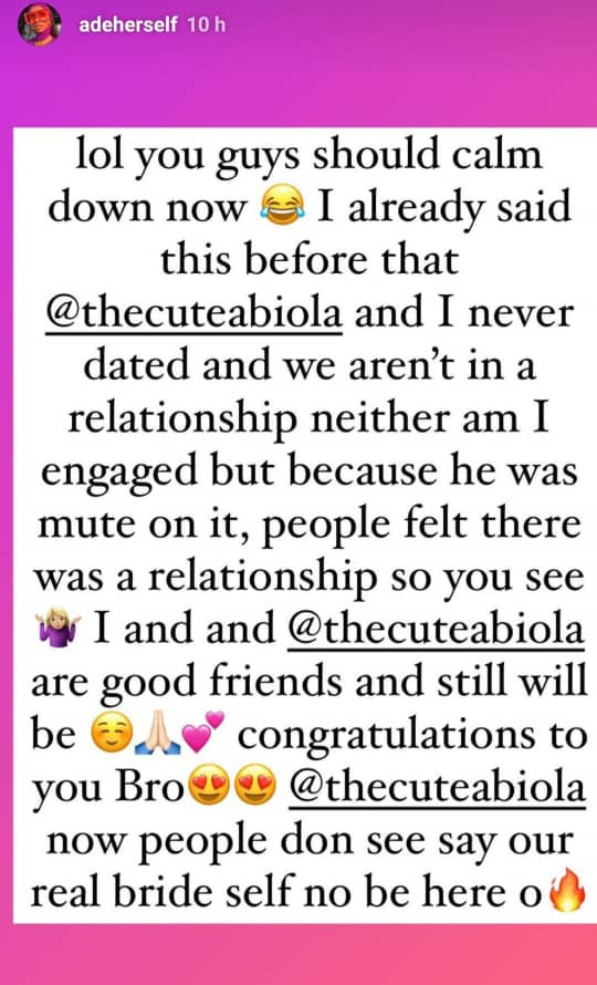 We never dated- Comedienne Adeherself reacts after photos and videos of her colleague, Cute Abiola?s traditional wedding surfaced online
