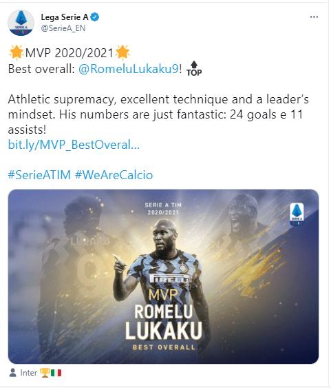 Lukaku Wins Serie A MVP Award