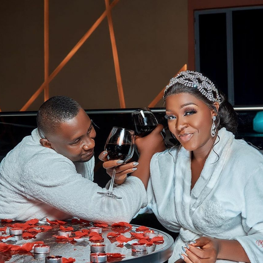 Chacha Eke Faani and husband celebrate 8th wedding anniversary with lovely family photos