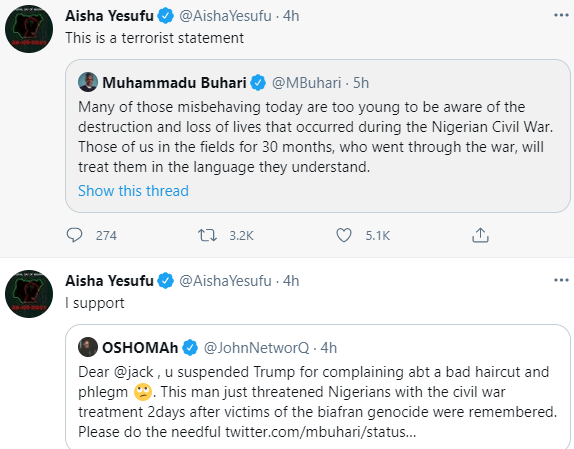 """Nigerians react as President Buhari says those """"plotting to destroy the country will soon receive shock of their lives"""""""