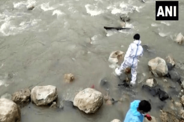 Stray dogs seen eating bodies of dead Covid patients as families throw bodies in river due to full cemeteries