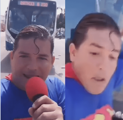 Comedian dressed as superman is hit by bus while pretending to stop it during viral stunt for his followers (video)