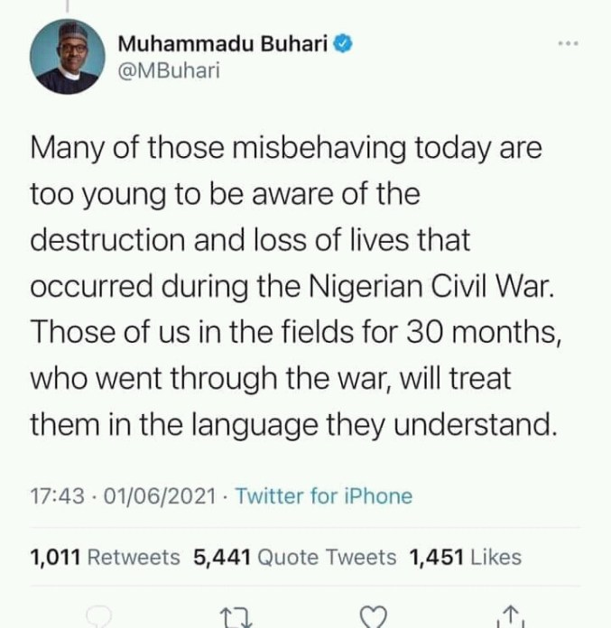 ''Tender an unreserved apology to Ndigbo''- Ohaneze tells President Buhari over his tweet referencing the civil war