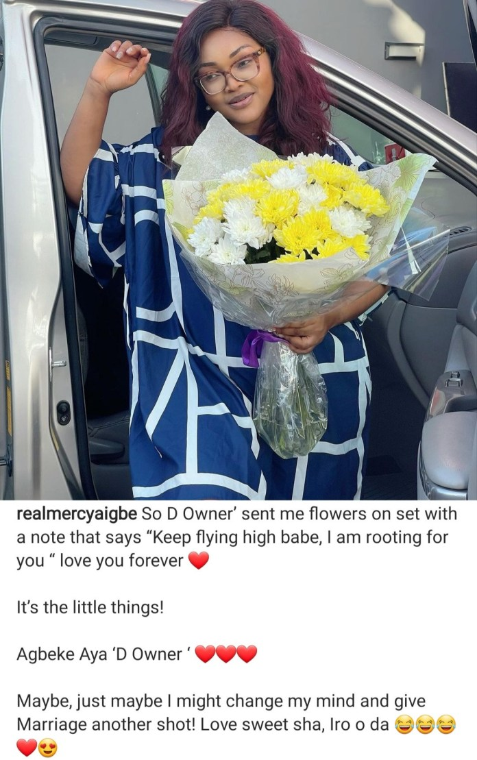 """""""I might change my mind and give marriage another shot"""" Mercy Aigbe says as she shows off what her man did for her"""