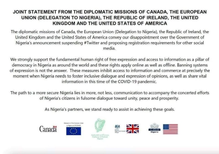 """""""We convey our disappointment"""" Canada,  EU, Ireland, UK,  USA release joint statement condemning Twitter ban in Nigeria"""