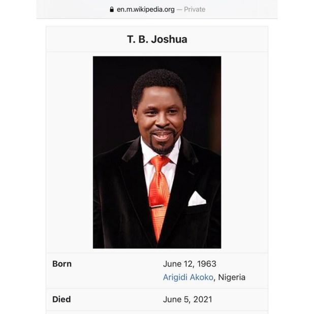 Pastor TB Joshua dies at age 57