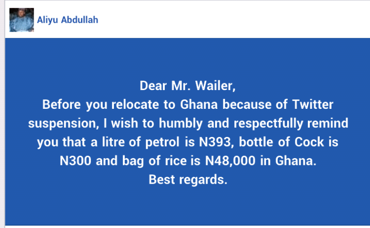 Before you relocate to Ghana because of Twitter suspension I wish to remind you that a bag of rice is N48,000 in Ghana - Aisha Buhari