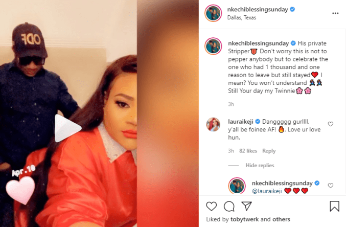 """""""His private stripper""""- actress Nkechi Blessing Sunday shares throwback video of herself twerking for her partner, Falegan Opeyemi David"""