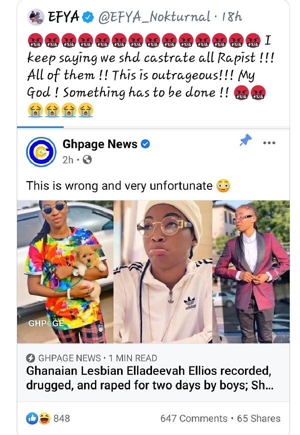 No one should become a target for rape over the sexuality, rapists should be castrated - Singer Efya reacts to rape of Nigerian lesbian in Ghana 3