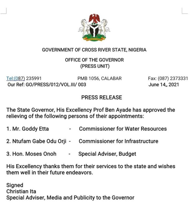 Governor Ayade relieves more commissioners of their appointments