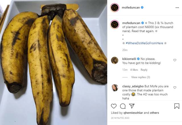 """""""Being famous is a curse sometimes"""" Mofe Duncan laments after he was accused of lying that he bought 4 fingers of plantain for 6k"""