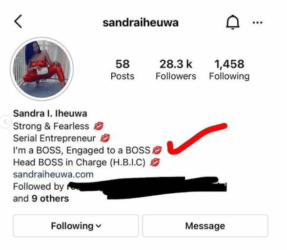 Ubi Franklin's baby mama, Sandra Iheuwa updates her bio to read 'engaged to a boss' after rumor of her romance with businessman Steve Chidi 2