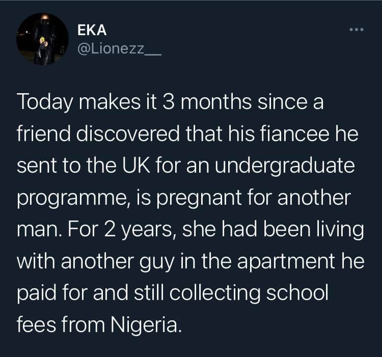 Man slips into depression after finding out that his fiancee he sponsored for an undergraduate programme in UK is pregnant for another man