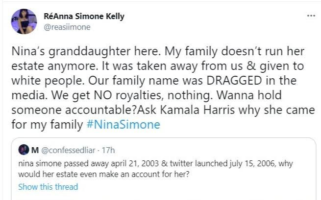 Kamala Harris accused of bullying daughter of late singer, Nina Simone, to the point she 'almost killed herself'