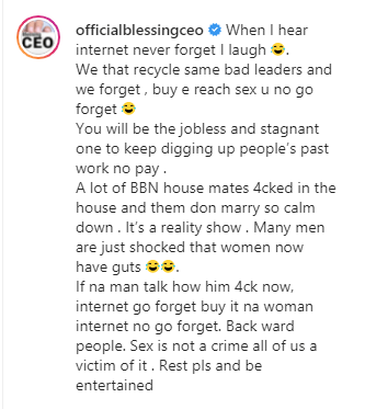 If a man talked about having sex the internet will forget but won't because a woman said it - Blessing Okoro faults Orezi's comment about BBNaija housemates 1