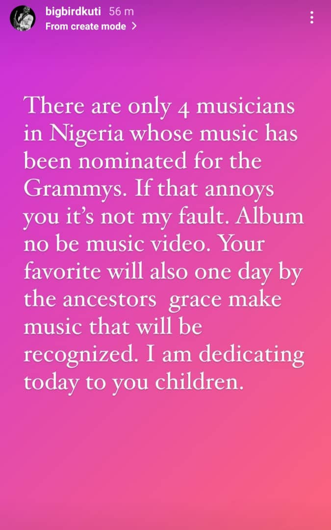 There are only four musicians in Nigeria whose music have been nominated for the Grammys - Seun Kuti insists