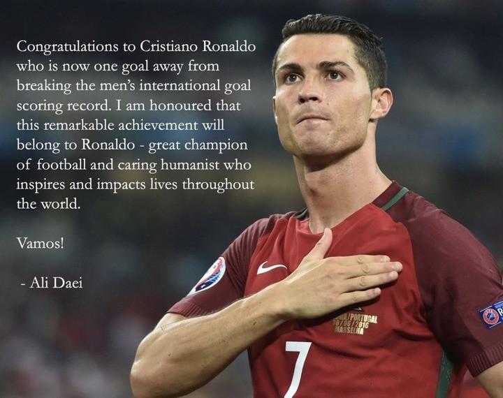 Iranian Football Legend, Ali Daei congratulates Cristiano Ronaldo after the Portugal star equals his goal record