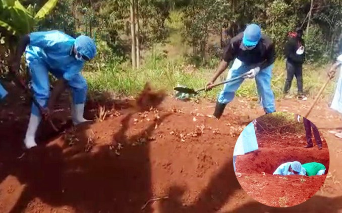 Body of Kenyan man exhumed after he was buried by his lover without wife's knowledge