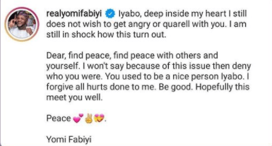 Deep inside in my heart, I still don't wish to get angry or quarrel with you - Yomi Fabiyi tells Iyabo Ojo