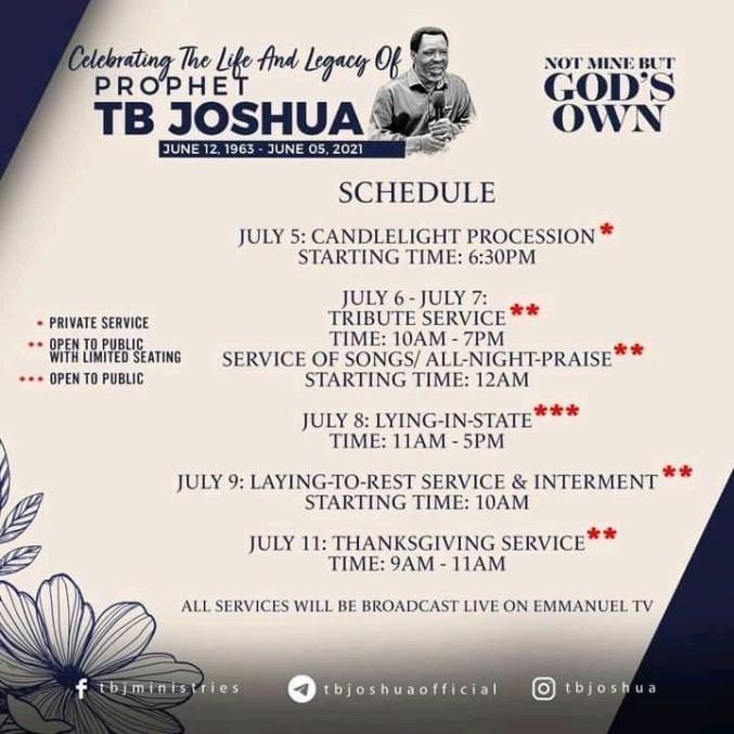 SCOAN announces July 9 as Pastor TB Joshua's burial date