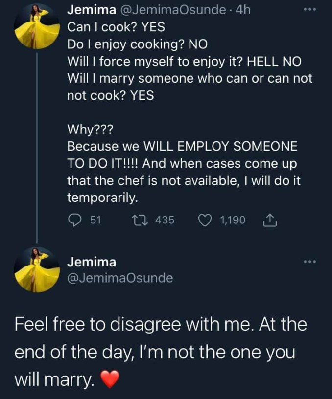 Actress Jemima Osunde tackled for saying she wouldn?t cook when she gets married 1