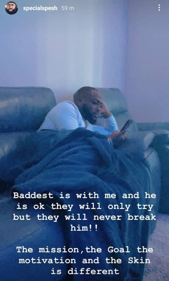"""""""He is with me and he is okay""""- Hypeman, Special Spesh, shares photo of Davido days after Obama DMW' s death"""