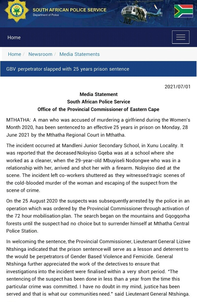 South African man who shot dead his girlfriend in front of her colleagues sentenced to 25 years imprisonment