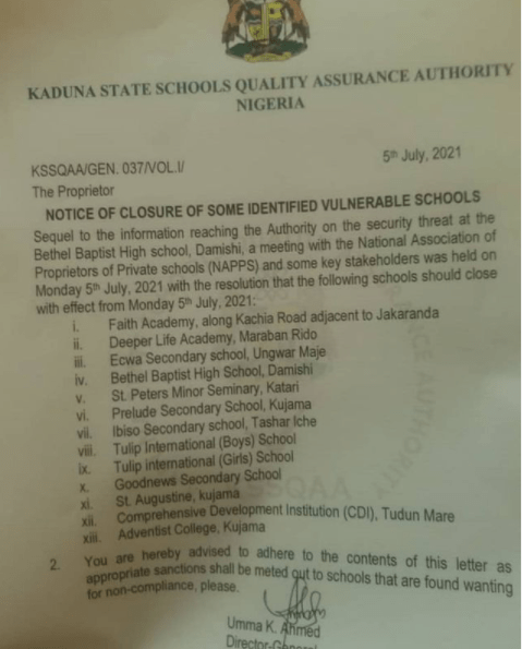 Insecurity: Kaduna state government orders closure of 13 schools