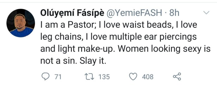 """""""Women looking sexy is not a sin,"""" Pastor says as he reveals he loves waist beads, multiple piercings, and leg chain on women"""