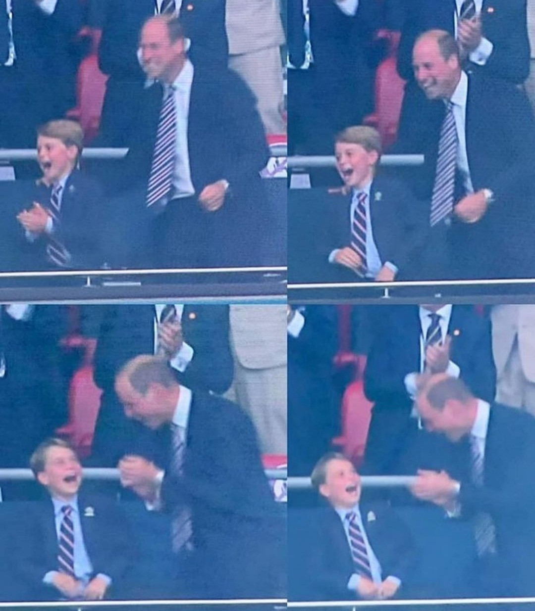 The Cambridges steal the show as they cheer loudly and hug each other following a goal scored by England at the Euro 2020 final (video)