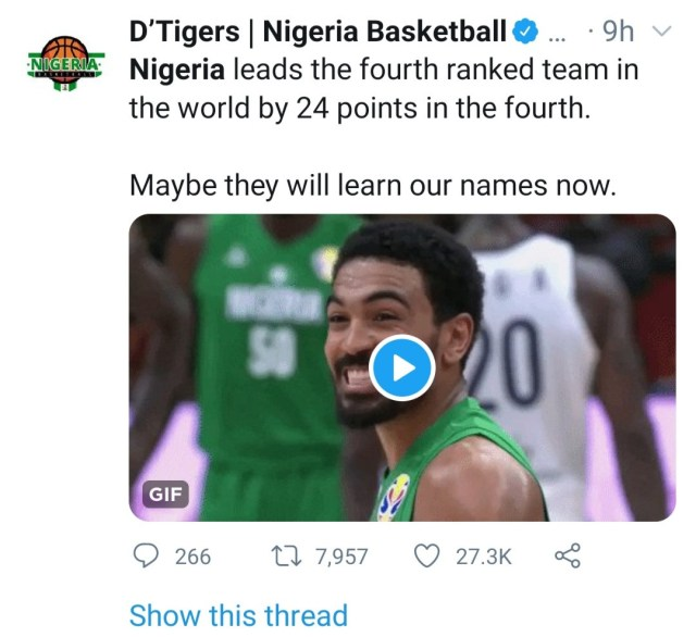 Nigeria basketball team beat Argentina after beating USA