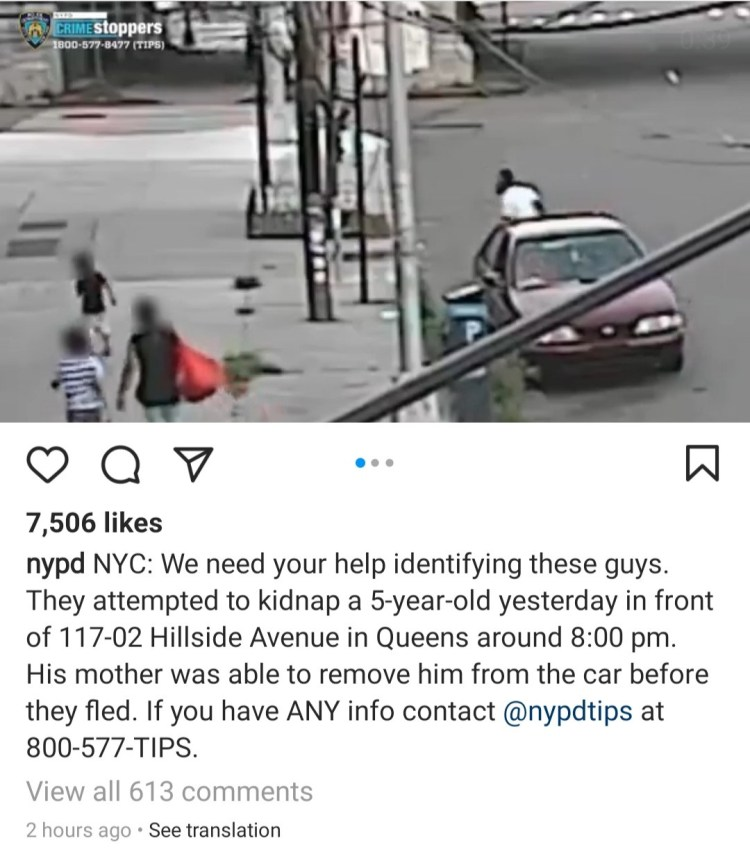 Mom bravely rescues her 5-year-old boy from attempted broad daylight kidnapping; NYPD asks for help in identifying the kidnappers (video)