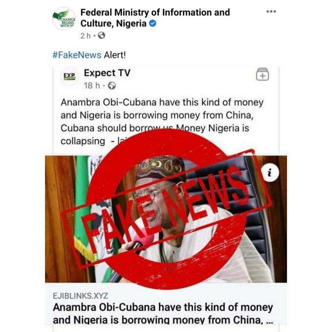FG denies asking Obi Cubana for loan