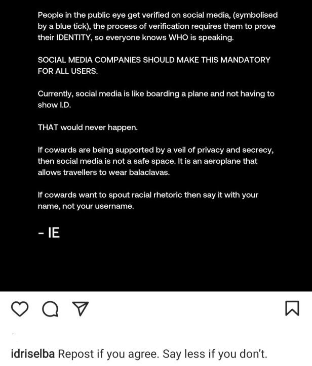 Idris Elba suggests social media companies make it mandatory that everyone proves their identity before creating account to reduce trolling