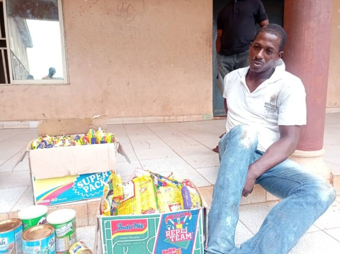 Man nabbed for stealing food items in Anambra says the shop was open so he took what he desired